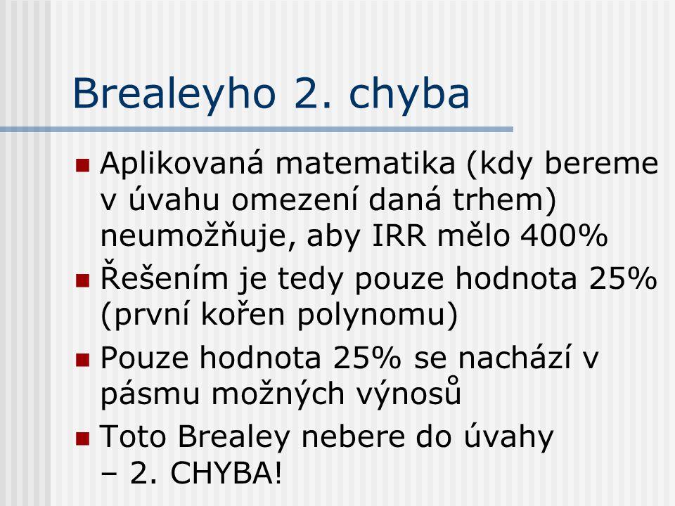 Brealeyho 2. chyba Aplikovaná matematika (kdy bereme v úvahu omezení daná trhem) neumožňuje, aby IRR mělo 400% Řešením je tedy pouze hodnota 25% (prvn
