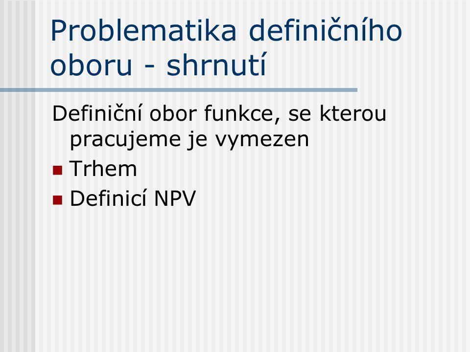 Problematika definičního oboru - shrnutí Definiční obor funkce, se kterou pracujeme je vymezen Trhem Definicí NPV