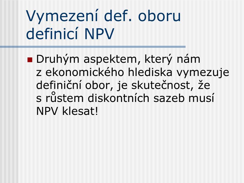 Vymezení def. oboru definicí NPV Druhým aspektem, který nám z ekonomického hlediska vymezuje definiční obor, je skutečnost, že s růstem diskontních sa