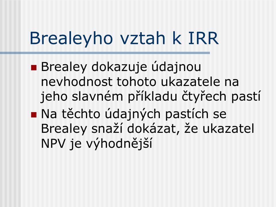 Brealeyho vztah k IRR Brealey dokazuje údajnou nevhodnost tohoto ukazatele na jeho slavném příkladu čtyřech pastí Na těchto údajných pastích se Breale