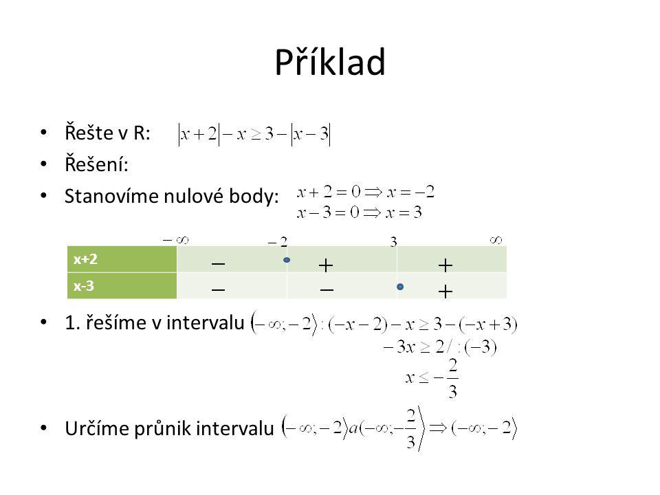 Příklad Řešte v R: Řešení: Stanovíme nulové body: 1.