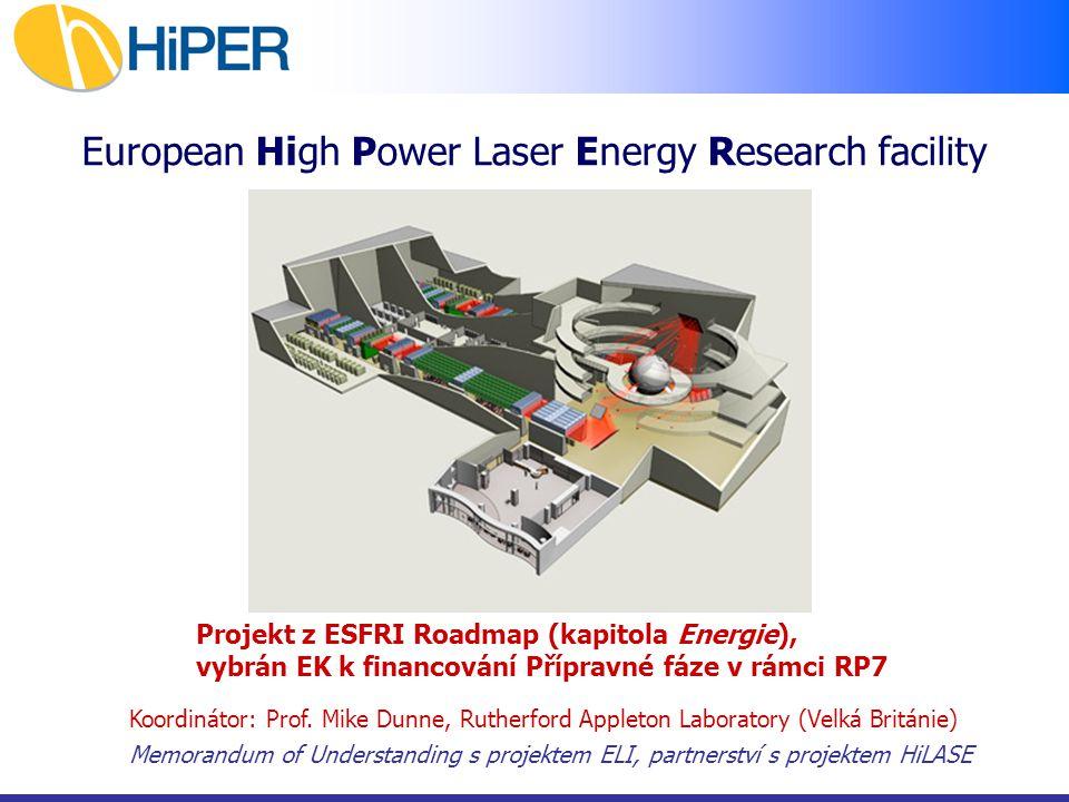Cíl projektu Koncepční a technologický demonstrátor generace fúzní energie pomocí laseru Klíčové technologie Nová generace vysoce účinných repetičních laserů s využitím v průmyslu Časový horizont 2008 - 2011/12Přípravná fáze, prototypy laserových technologií 2012 - 2014Definiční fáze, prototypy jednotlivých částí HiPERu 2014 - 2020 Konstrukční fáze: stavba + uvedení do provozu Cena 1 - 1.5 mld Euro