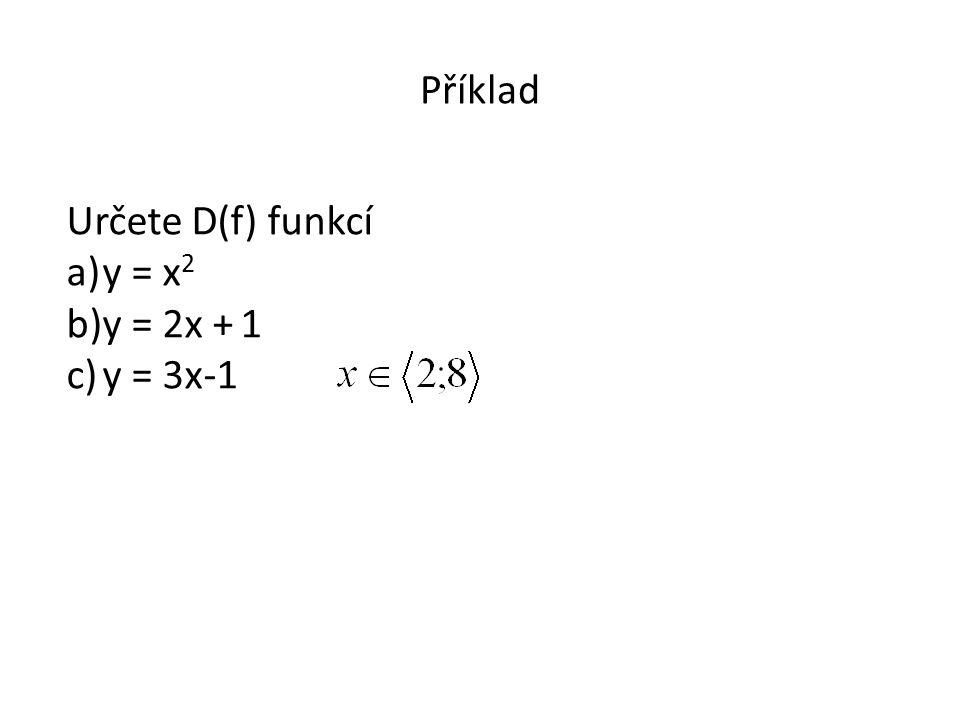 Příklad Určete D(f) funkcí a)y = x 2 b)y = 2x + 1 c)y = 3x-1
