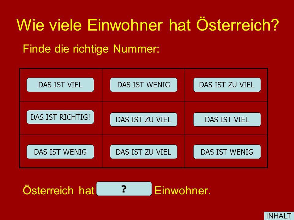 Wie viele Einwohner hat Österreich.Finde die richtige Nummer: Österreich hat 8.