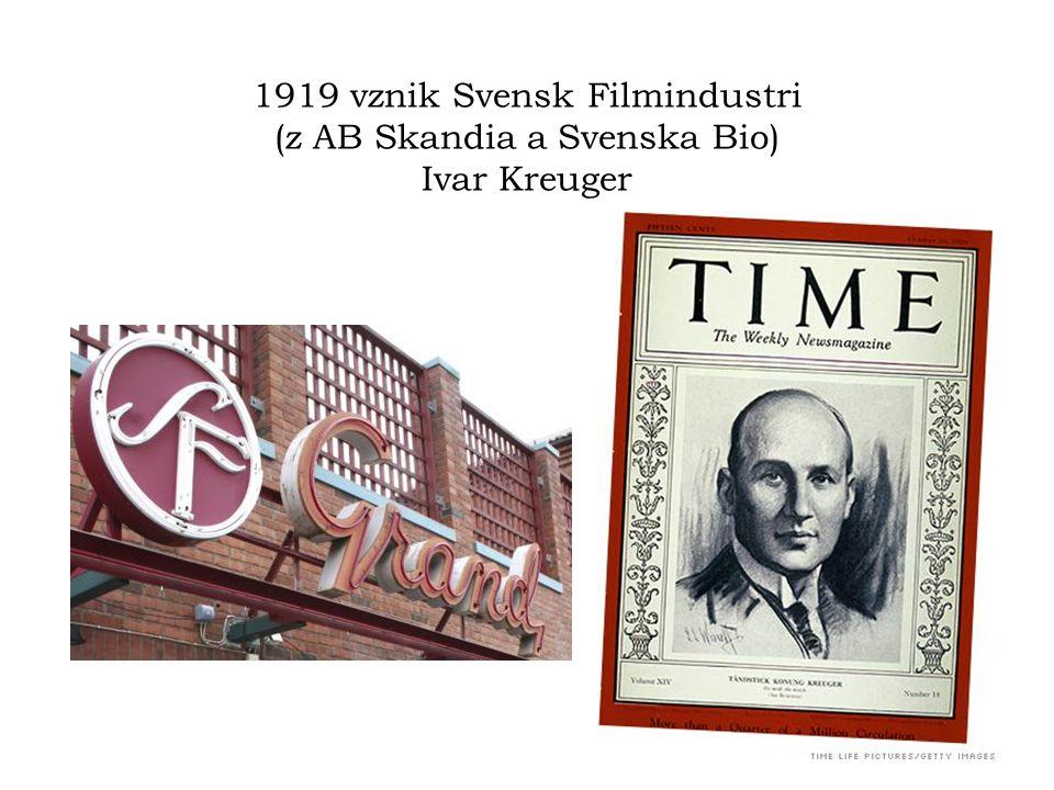1919 vznik Svensk Filmindustri (z AB Skandia a Svenska Bio) Ivar Kreuger