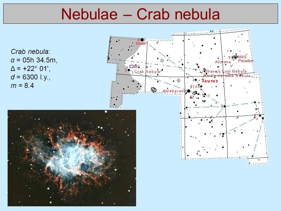 Nebulae – Crab nebula Crab nebula: α = 05h 34.5m, Δ = +22° 01 , d = 6300 l.y., m = 8.4