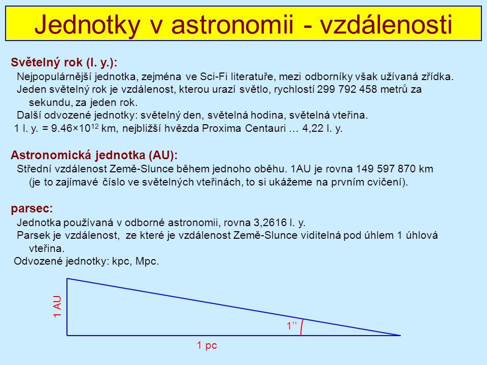 Jednotky v astronomii - vzdálenosti Světelný rok (l.