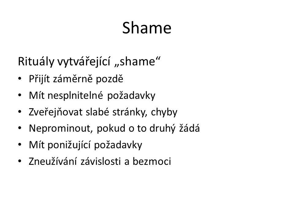 """Shame Rituály vytvářející """"shame"""" Přijít záměrně pozdě Mít nesplnitelné požadavky Zveřejňovat slabé stránky, chyby Neprominout, pokud o to druhý žádá"""