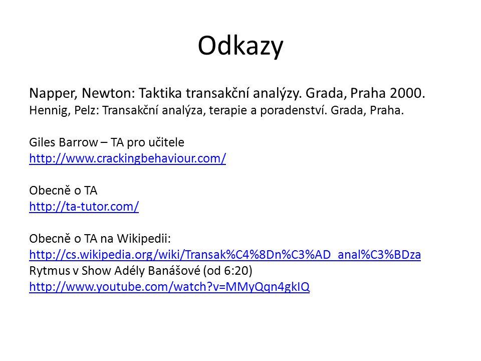 Odkazy Napper, Newton: Taktika transakční analýzy. Grada, Praha 2000. Hennig, Pelz: Transakční analýza, terapie a poradenství. Grada, Praha. Giles Bar