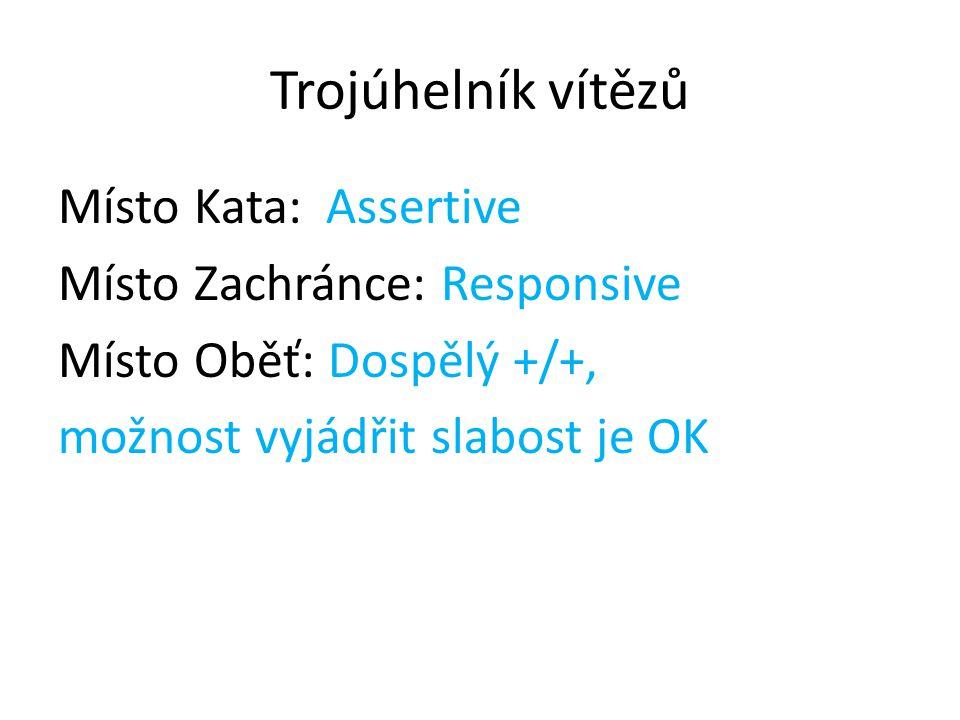 Trojúhelník vítězů Místo Kata: Assertive Místo Zachránce: Responsive Místo Oběť: Dospělý +/+, možnost vyjádřit slabost je OK