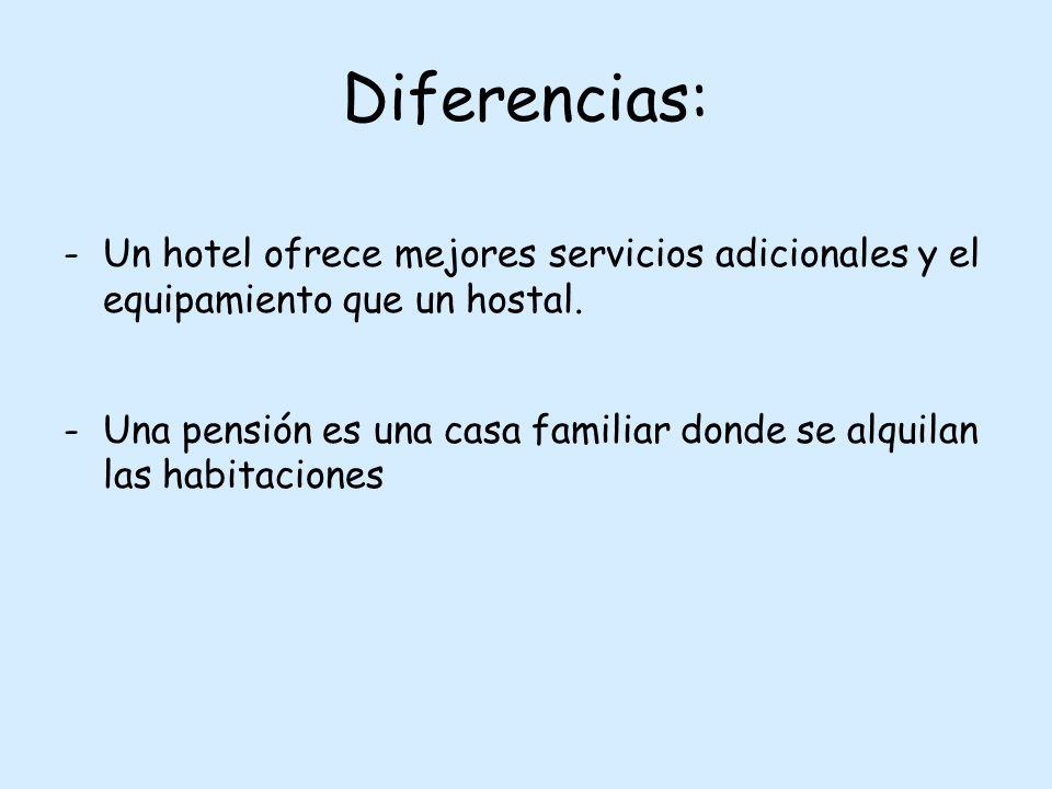 Diferencias: -Un hotel ofrece mejores servicios adicionales y el equipamiento que un hostal.