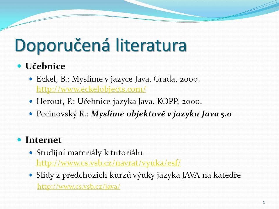 2 Doporučená literatura Učebnice Eckel, B.: Myslíme v jazyce Java. Grada, 2000. http://www.eckelobjects.com/ http://www.eckelobjects.com/ Herout, P.: