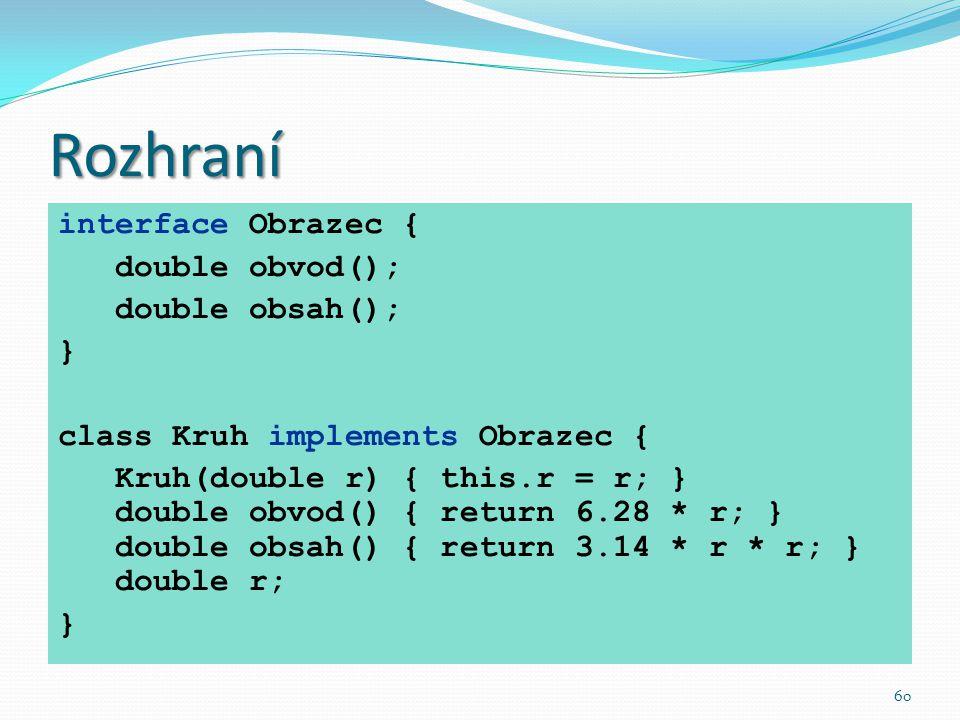 60 Rozhraní interface Obrazec { double obvod(); double obsah(); } class Kruh implements Obrazec { Kruh(double r) { this.r = r; } double obvod() { retu