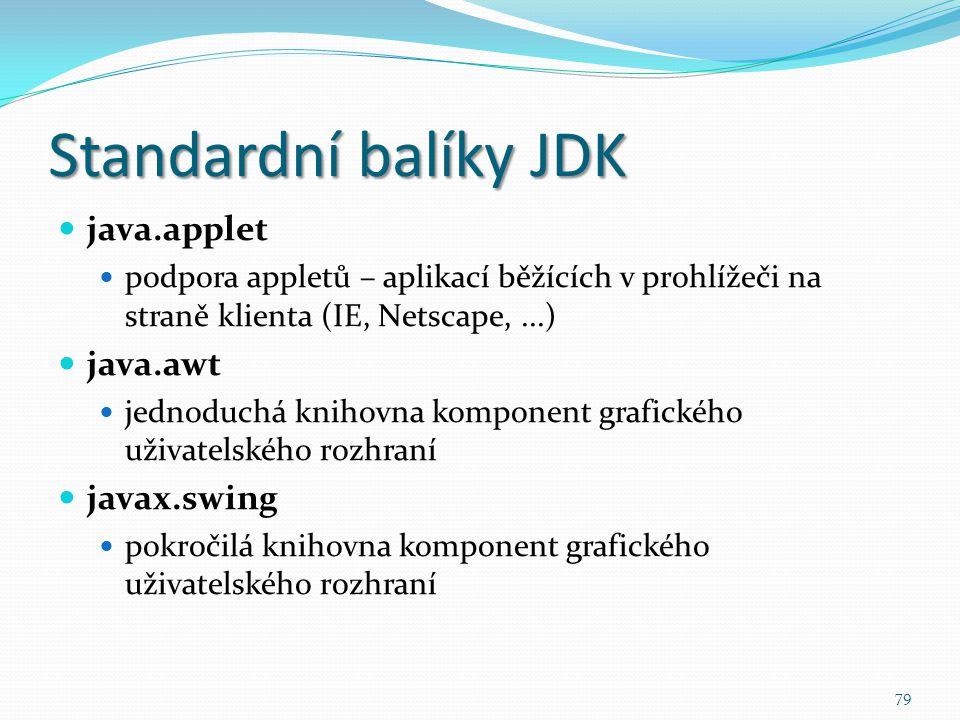 79 Standardní balíky JDK java.applet podpora appletů – aplikací běžících v prohlížeči na straně klienta (IE, Netscape,...) java.awt jednoduchá knihovn