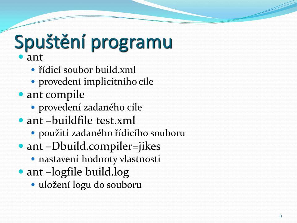 9 Spuštění programu ant řídicí soubor build.xml provedení implicitního cíle ant compile provedení zadaného cíle ant –buildfile test.xml použití zadané
