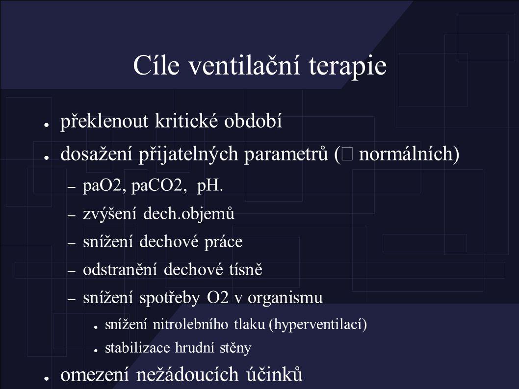 Cíle ventilační terapie ● překlenout kritické období ● dosažení přijatelných parametrů (  normálních) – paO2, paCO2, pH.
