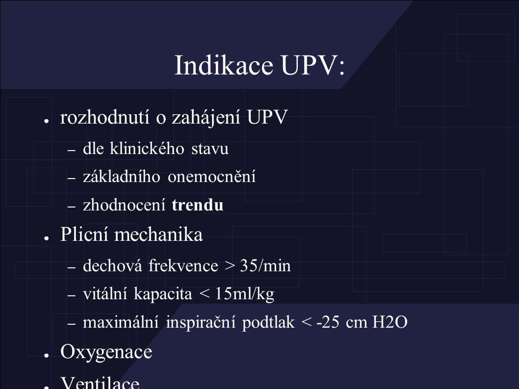 Indikace UPV: ● rozhodnutí o zahájení UPV – dle klinického stavu – základního onemocnění – zhodnocení trendu ● Plicní mechanika – dechová frekvence > 35/min – vitální kapacita < 15ml/kg – maximální inspirační podtlak < -25 cm H2O ● Oxygenace ● Ventilace