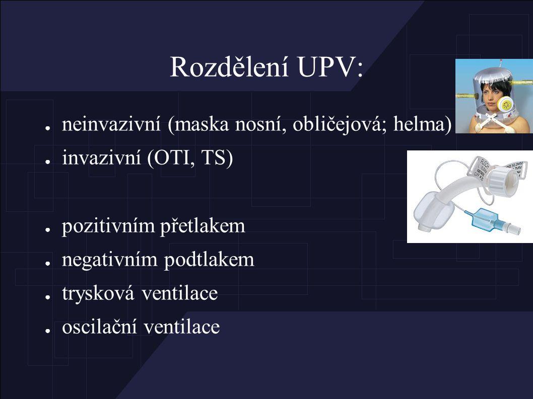 Rozdělení UPV: ● neinvazivní (maska nosní, obličejová; helma) ● invazivní (OTI, TS) ● pozitivním přetlakem ● negativním podtlakem ● trysková ventilace ● oscilační ventilace