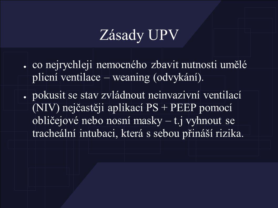 Zásady UPV ● co nejrychleji nemocného zbavit nutnosti umělé plicní ventilace – weaning (odvykání).