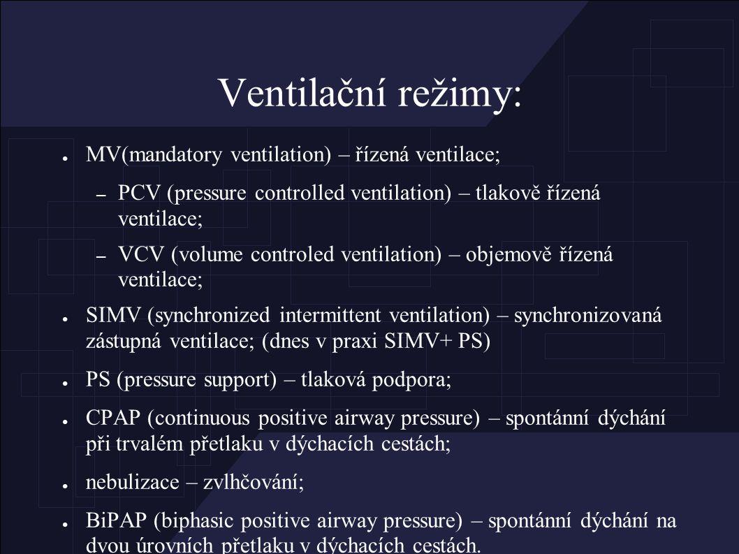 Ventilační režimy: ● MV(mandatory ventilation) – řízená ventilace; – PCV (pressure controlled ventilation) – tlakově řízená ventilace; – VCV (volume controled ventilation) – objemově řízená ventilace; ● SIMV (synchronized intermittent ventilation) – synchronizovaná zástupná ventilace; (dnes v praxi SIMV+ PS) ● PS (pressure support) – tlaková podpora; ● CPAP (continuous positive airway pressure) – spontánní dýchání při trvalém přetlaku v dýchacích cestách; ● nebulizace – zvlhčování; ● BiPAP (biphasic positive airway pressure) – spontánní dýchání na dvou úrovních přetlaku v dýchacích cestách.