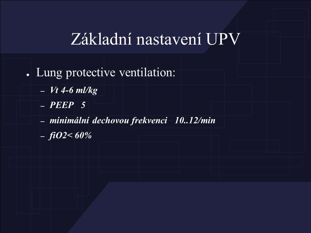 Základní nastavení UPV ● Lung protective ventilation: – Vt 4-6 ml/kg – PEEP 5 – minimální dechovou frekvenci 10..12/min – fiO2< 60%