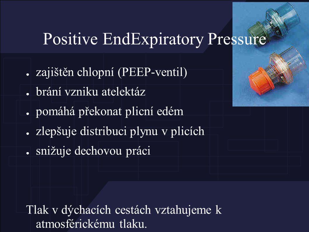Positive EndExpiratory Pressure ● zajištěn chlopní (PEEP-ventil) ● brání vzniku atelektáz ● pomáhá překonat plicní edém ● zlepšuje distribuci plynu v plicích ● snižuje dechovou práci Tlak v dýchacích cestách vztahujeme k atmosférickému tlaku.