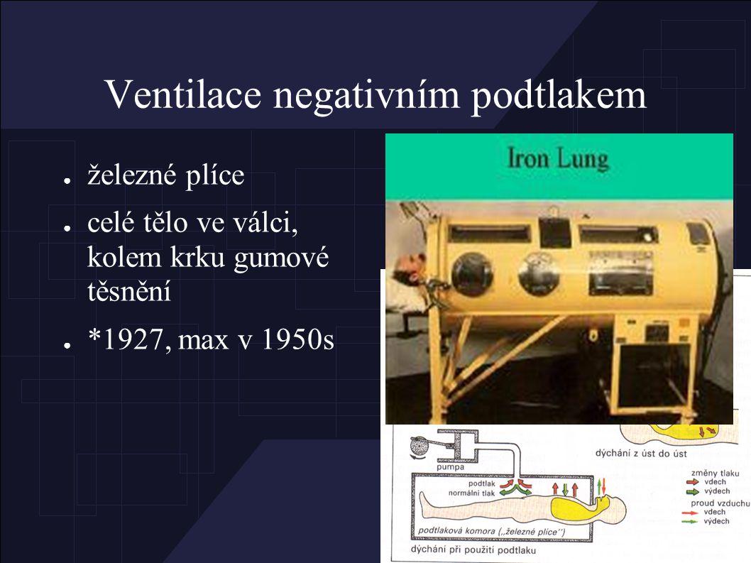 Ventilace negativním podtlakem ● železné plíce ● celé tělo ve válci, kolem krku gumové těsnění ● *1927, max v 1950s