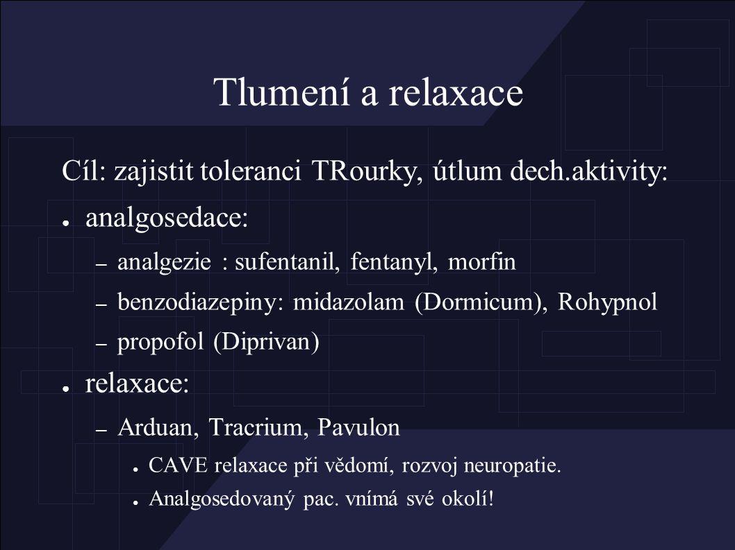 Tlumení a relaxace Cíl: zajistit toleranci TRourky, útlum dech.aktivity: ● analgosedace: – analgezie : sufentanil, fentanyl, morfin – benzodiazepiny: midazolam (Dormicum), Rohypnol – propofol (Diprivan) ● relaxace: – Arduan, Tracrium, Pavulon ● CAVE relaxace při vědomí, rozvoj neuropatie.