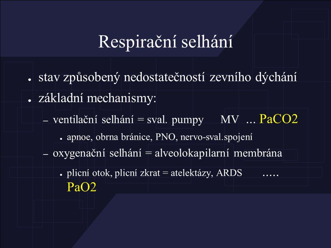 Respirační selhání: ● parciální (hypoxémie) a globální (hypoxémie, hyperkapnie) ● akutní a chronické ● latentní (při zátěži) a manifestní (v klidu) ● kompenzované (normální pH) a dekompenzované - - - dušnost = subjektivní příznak CO2 + H2O  H2CO3  H + + HCO3 -