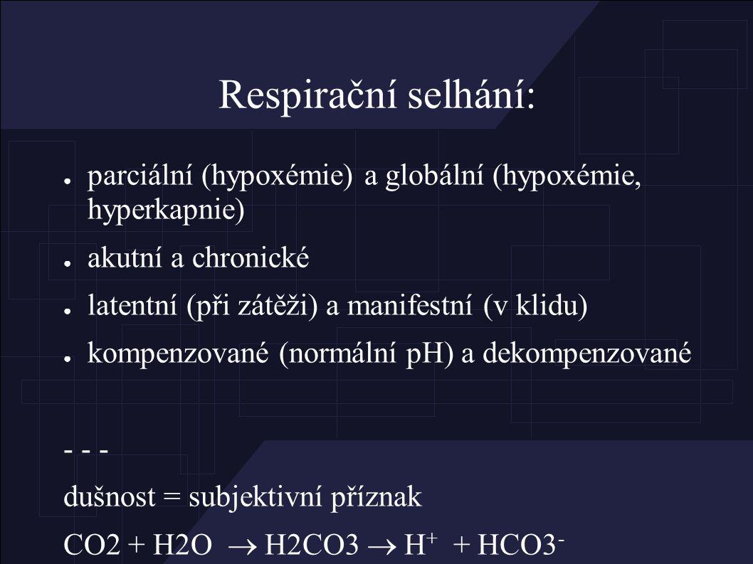 Příčiny respiračního selhání: ● mozek (úrazy, tu, záněty, intoxikace) ● mícha (sy Guillain Barré, úrazy, poliomyelitis) ● nervosvalový přenos (myastenie, neuritis, tetanus, sval.relaxancia, botulismus) ● hrudník (trauma PNO, hemothorax) ● HCD – obstrukce (zánět, tu, trauma, cizí tělesa, laryngospasmus) ● DCD (astma, COPD, bronchiolitis, fibrózy, ARDS, kontuze) ● srdce (kardiogenní edém plic, plicní embolizace) ● neurogenní edém plic