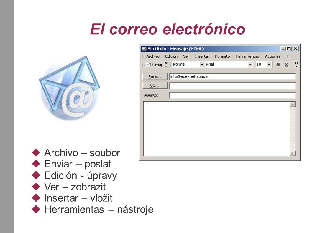 El correo electrónico  Archivo – soubor  Enviar – poslat  Edición - úpravy  Ver – zobrazit  Insertar – vložit  Herramientas – nástroje