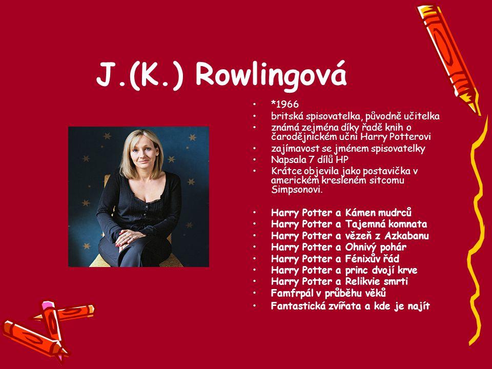 J.(K.) Rowlingová *1966 britská spisovatelka, původně učitelka známá zejména díky řadě knih o čarodějnickém učni Harry Potterovi zajímavost se jménem