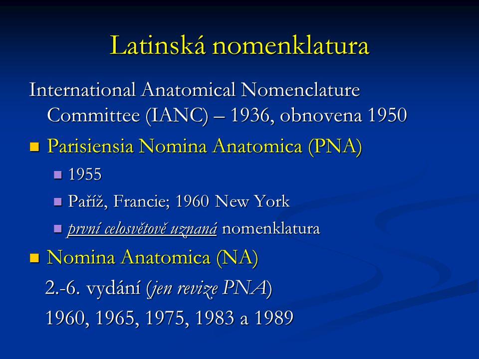 Latinská nomenklatura International Anatomical Nomenclature Committee (IANC) – 1936, obnovena 1950 Parisiensia Nomina Anatomica (PNA) Parisiensia Nomina Anatomica (PNA) 1955 1955 Paříž, Francie; 1960 New York Paříž, Francie; 1960 New York první celosvětově uznaná nomenklatura první celosvětově uznaná nomenklatura Nomina Anatomica (NA) Nomina Anatomica (NA) 2.-6.