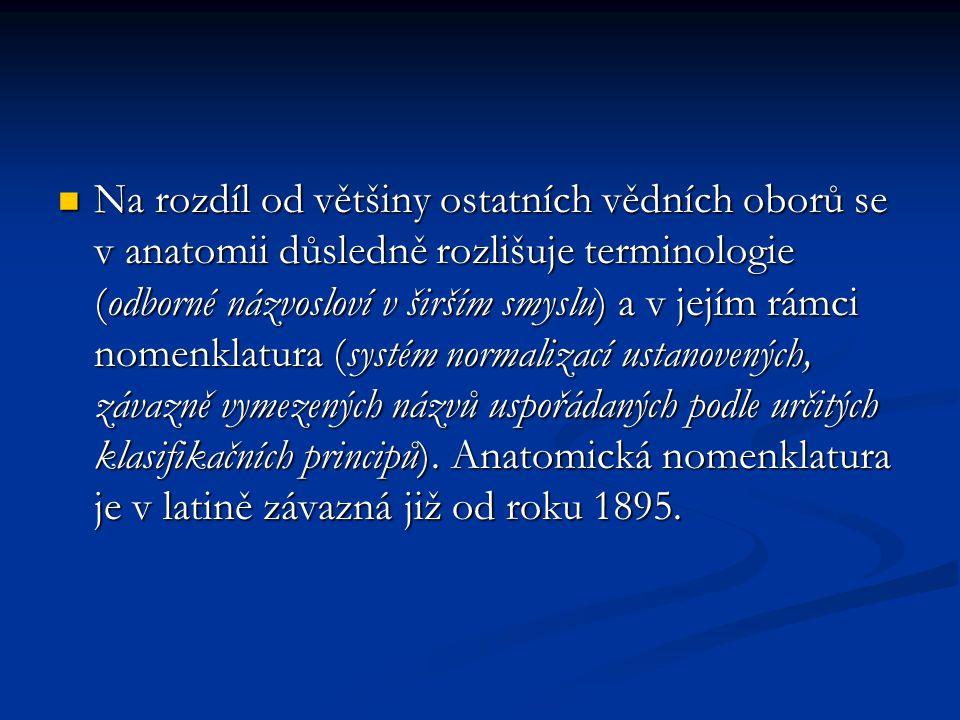 Na rozdíl od většiny ostatních vědních oborů se v anatomii důsledně rozlišuje terminologie (odborné názvosloví v širším smyslu) a v jejím rámci nomenk