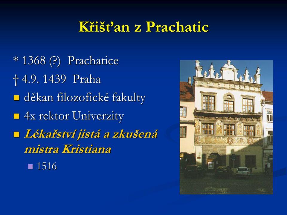 Křišťan z Prachatic * 1368 (?) Prachatice † 4.9. 1439 Praha děkan filozofické fakulty děkan filozofické fakulty 4x rektor Univerzity 4x rektor Univerz