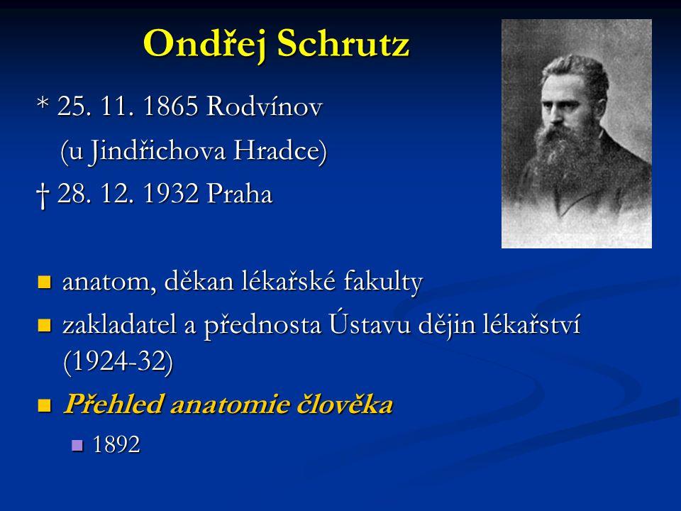 Ondřej Schrutz * 25. 11. 1865 Rodvínov (u Jindřichova Hradce) (u Jindřichova Hradce) † 28. 12. 1932 Praha anatom, děkan lékařské fakulty anatom, děkan