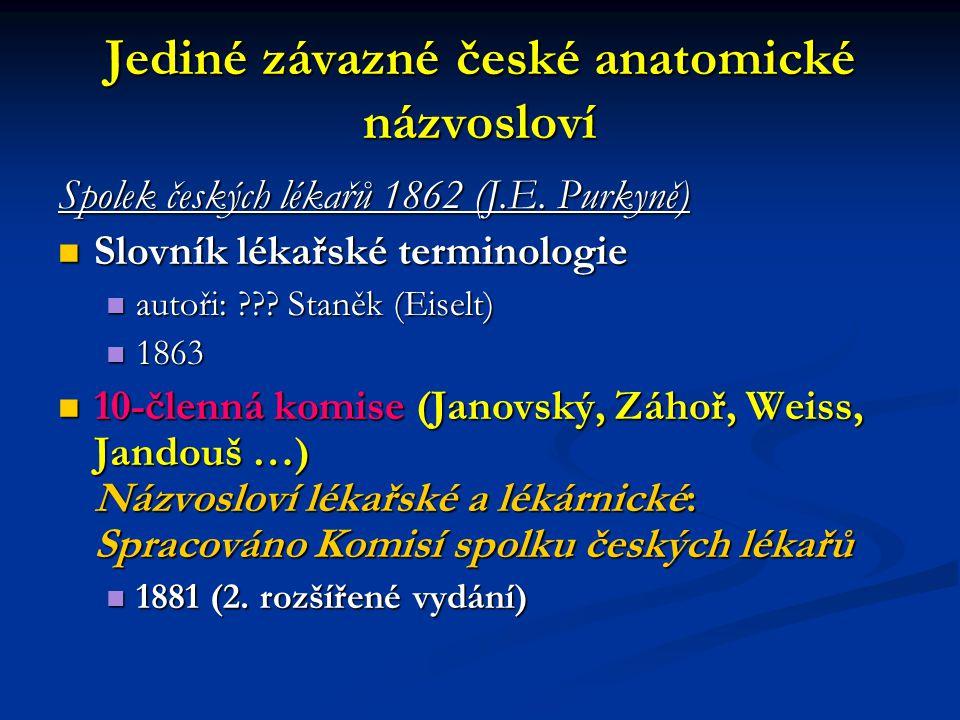 Jediné závazné české anatomické názvosloví Spolek českých lékařů 1862 (J.E. Purkyně) Slovník lékařské terminologie Slovník lékařské terminologie autoř