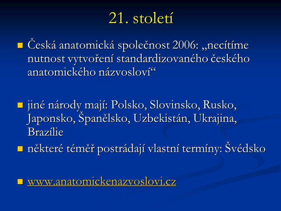 """21. století Česká anatomická společnost 2006: """"necítíme nutnost vytvoření standardizovaného českého anatomického názvosloví"""" Česká anatomická společno"""