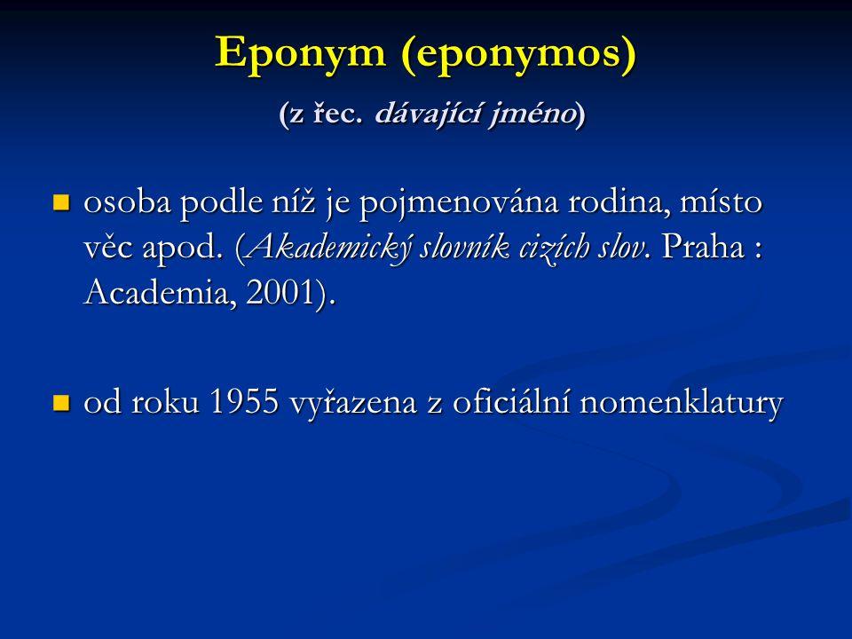 Eponym (eponymos) (z řec.dávající jméno) osoba podle níž je pojmenována rodina, místo věc apod.