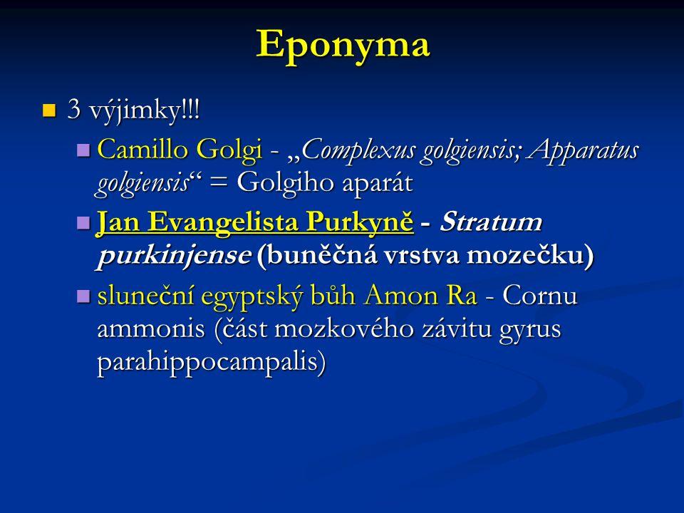 "Eponyma 3 výjimky!!! 3 výjimky!!! Camillo Golgi - ""Complexus golgiensis; Apparatus golgiensis"" = Golgiho aparát Camillo Golgi - ""Complexus golgiensis;"