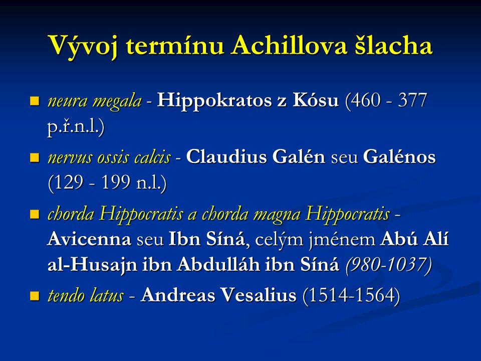 Vývoj termínu Achillova šlacha neura megala - Hippokratos z Kósu (460 - 377 p.ř.n.l.) neura megala - Hippokratos z Kósu (460 - 377 p.ř.n.l.) nervus ossis calcis - Claudius Galén seu Galénos (129 - 199 n.l.) nervus ossis calcis - Claudius Galén seu Galénos (129 - 199 n.l.) chorda Hippocratis a chorda magna Hippocratis - Avicenna seu Ibn Síná, celým jménem Abú Alí al-Husajn ibn Abdulláh ibn Síná (980-1037) chorda Hippocratis a chorda magna Hippocratis - Avicenna seu Ibn Síná, celým jménem Abú Alí al-Husajn ibn Abdulláh ibn Síná (980-1037) tendo latus - Andreas Vesalius (1514-1564) tendo latus - Andreas Vesalius (1514-1564)