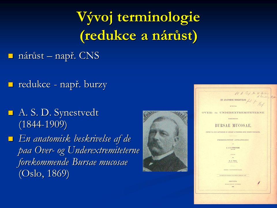 Vývoj terminologie (redukce a nárůst) nárůst – např. CNS nárůst – např. CNS redukce - např. burzy redukce - např. burzy A. S. D. Synestvedt (1844-1909