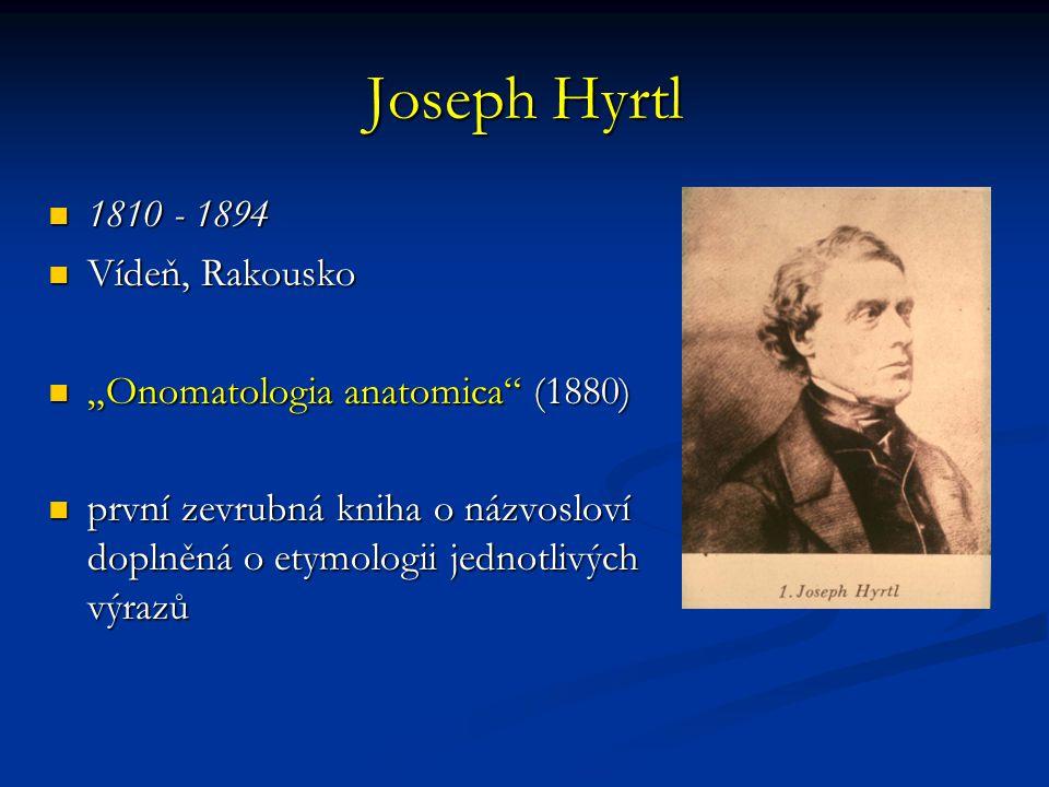 "Joseph Hyrtl 1810 - 1894 1810 - 1894 Vídeň, Rakousko Vídeň, Rakousko ""Onomatologia anatomica"" (1880) ""Onomatologia anatomica"" (1880) první zevrubná kn"
