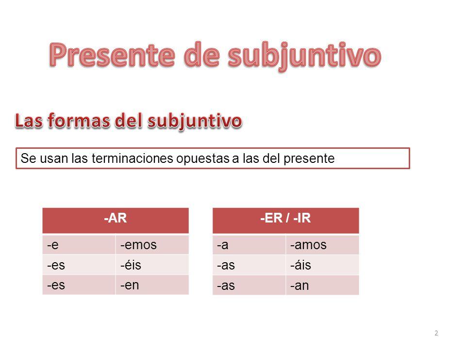 2 Se usan las terminaciones opuestas a las del presente -AR -e-emos -es-éis -es-en -ER / -IR -a-amos -as-áis -as-an