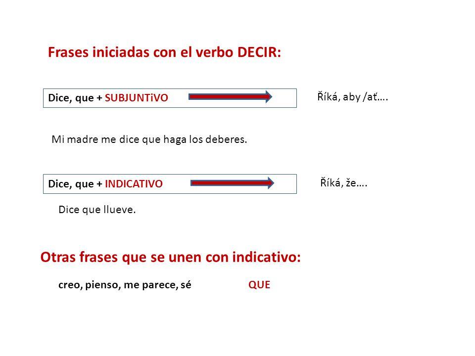 Frases iniciadas con el verbo DECIR: Dice, que + SUBJUNTiVO Říká, aby /ať….