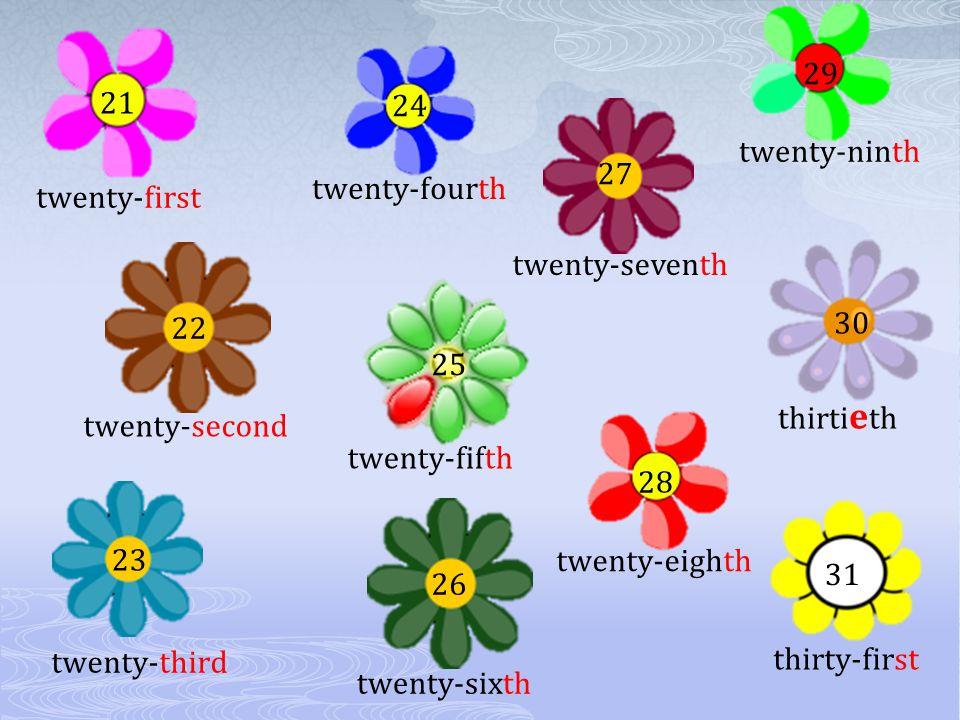 Choose the right ending : thirtie___ twelf___ seco___ nin___ fifteen___ twenty- six___ fir___ fourteen___ ten___ thi___ eigh___ twentie___ eleven___ thirty-fir___