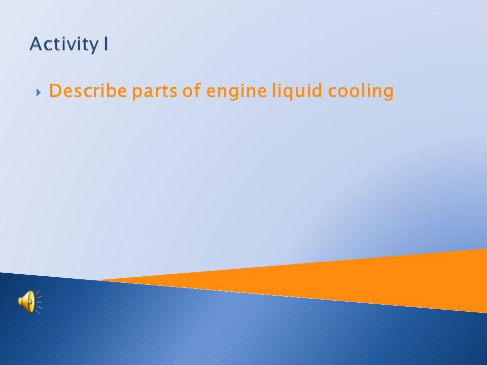  Describe parts of engine liquid cooling