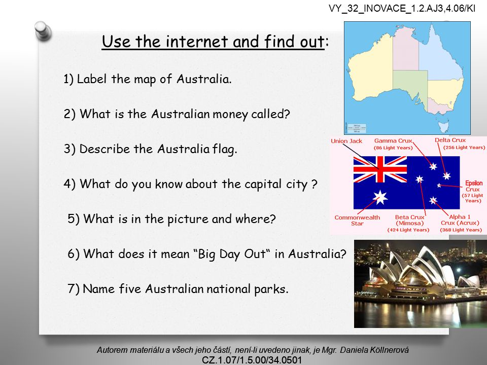 Use the internet and find out: 1) Label the map of Australia.