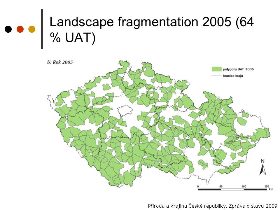 Landscape fragmentation 2005 (64 % UAT) Příroda a krajina České republiky. Zpráva o stavu 2009