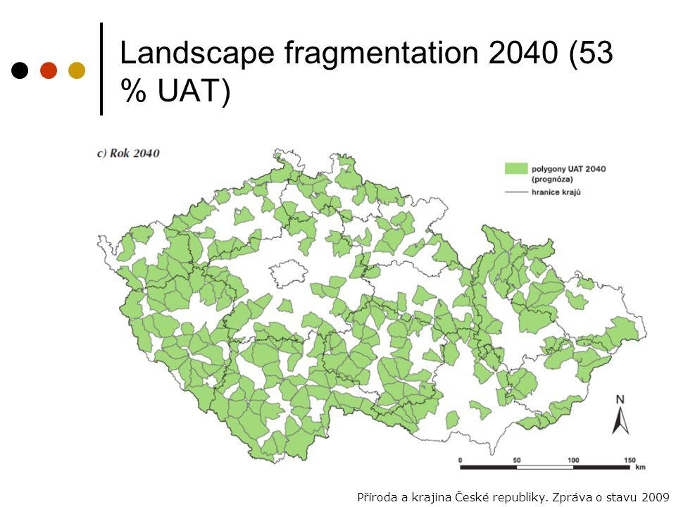 Landscape fragmentation 2040 (53 % UAT) Příroda a krajina České republiky. Zpráva o stavu 2009